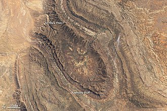 Wilpena Pound - Annotated view of Wilpena from space