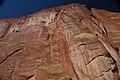 Wingate Sandstone (Upper Triassic) with desert varnish, Fremont Petroglyphs Cliff, Capitol Reef National Park, southern Utah 5 (8445593304).jpg