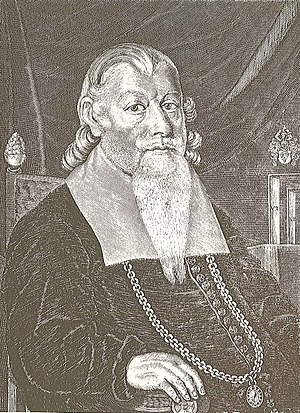 Peder Winstrup - Bishop Peder Winstrup on a contemporary engraving printed in one of his own theological works in 1666