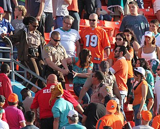 Violence in sports - Miami-Dade Police arrest female spectator during NFL match between Miami Dolphins and Buffalo Bills at Sun Life Stadium, December 24, 2012.