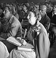 Woman taking notes at Dianetics seminar in Los Angeles in 1950.jpg