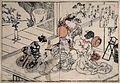Women dressing their hair. Coloured woodcut by Masanobu, 174 Wellcome V0019774.jpg
