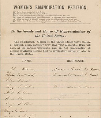 Women's Loyal National League - One of the petitions collected by the League
