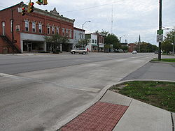 Main Street runs concurrently with U.S. Route 20 and State Route 105 in downtown Woodville
