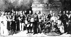 """Decline and fall of Pedro II of Brazil - """"The World's Sovereigns"""". By 1889 Emperor Pedro II (left with dark tunic, white pants, and sash) had achieved a place of prominence on the world stage for both Brazil and himself."""