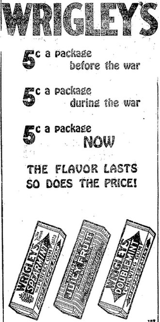 Wrigley Company - A newspaper ad from 1920 for three types of Wrigley's gum