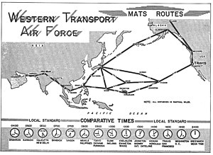 Twenty-Second Air Force - Route map of the Western Transport Air Force, 1964