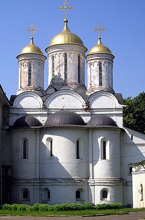 Prothesis (altar) - The triple apse of an Orthodox church. The Altar is in the larger central apse, the Prothesis in the apse to the right, and the Diaconicon in the one to the left.