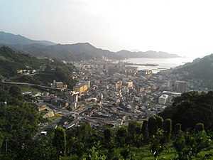Yawatahama, Ehime - Yawatahama seen from a nearby mountain