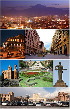 Yerevan City landmarks Yerevan skyline with Mount AraratYerevan Opera Theater • the Northern AvenueSaint Sarkis Cathedral • Yerevan Cascade • Mother Armeniathe Republic Square