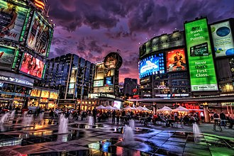 Downtown Toronto - Yonge–Dundas Square is a public square and landmark at the southeast corner of the intersection of Yonge Street and Dundas Street East.