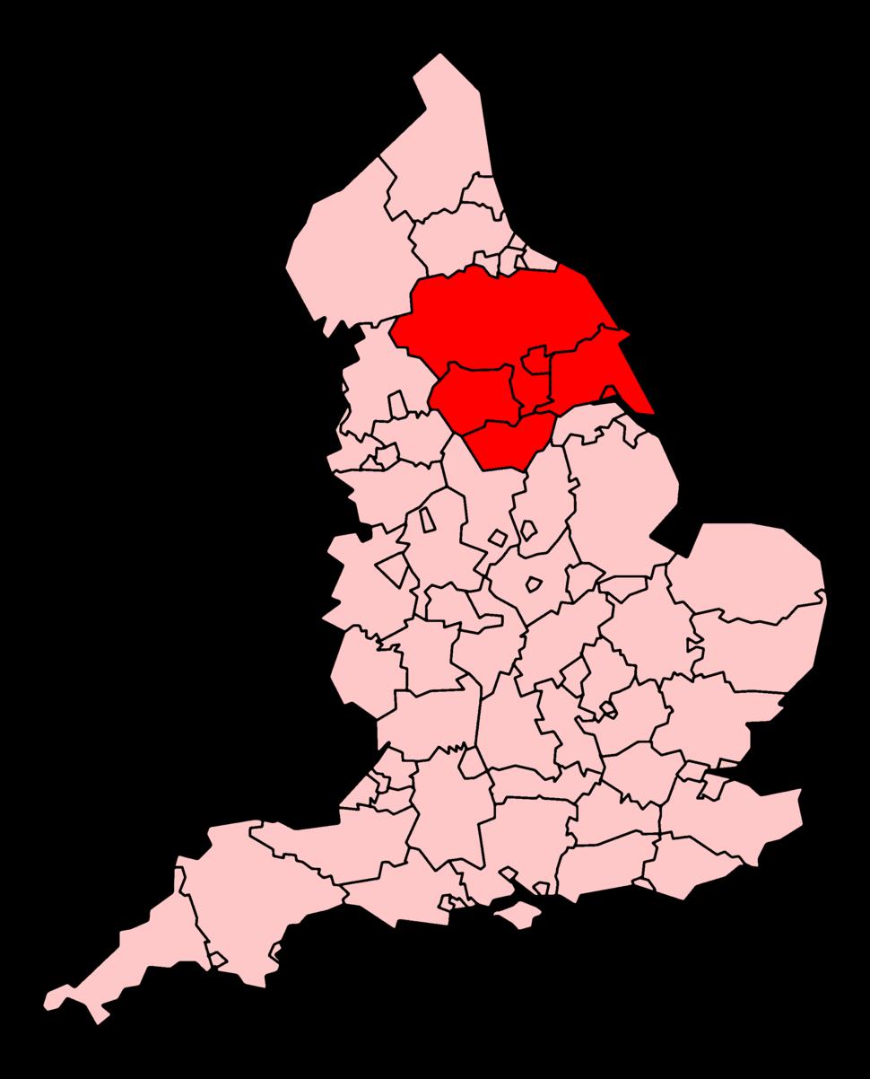 Area served by Yorkshire Ambulance Service