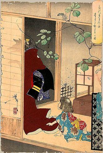 Kuzunoha - The Fox-woman Kuzunoha Leaving Her Child. A famous print by Yoshitoshi depicting Kuzunoha's departure.