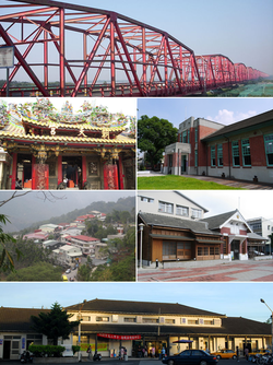 Top:Shiluo Bridge and Choushui River, Second left:Chaotian Temple in Peigang, Second right:Shinqi Memorial Museum, Third left:Caolin in Tongluo, Third right:Erlun Memorial Museum, Bottom:Dounan Railroad Station