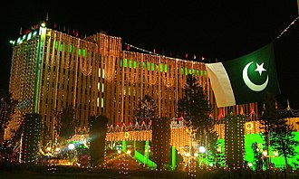 Independence Day (Pakistan) - An office building in Islamabad illuminated by decorative lighting