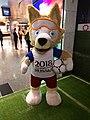 Zabivaka mascot in Doha airport.jpg