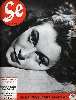 Zarah Leander - Zarah Leander on the cover of Swedish weekly Se 1941