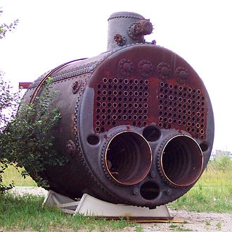 Scotch marine boiler - German example. Note the steam dome, a typically German feature, and also the corrugated furnaces.