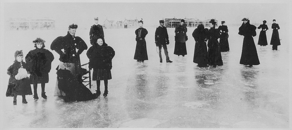 """Skating party, Ft. Keogh, Mont., about 1890."" - NARA - 531106"