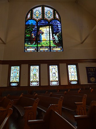 Pawtucket Congregational Church (Lowell, Massachusetts) - Image: 'He Is Risen' stained glass window in Pawtucket Congregational Church; Lowell, Massachusetts; 2012 05 19