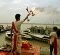 (A) Varanasi day Aarti Arati in progress, India.jpg