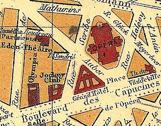 Éden-Théâtre - Image: Éden Théâtre on an 1893 map of Paris U Chicago