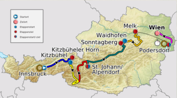 Map of the Tour of Austria 2012