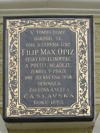 Philipp Maximilian Opiz - Memorial plaque in Čáslav, his birthplace