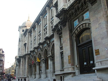 Istanbul's central post office dates back to 1909. Istanbul Sirkeci Buyuk Postane 1.JPG