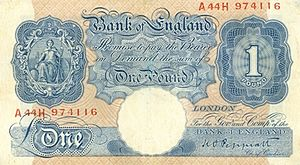 Bank of England £1 note - The Emergency wartime issue of 1940–48
