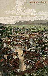 %C5%A0pitalski most%2C Marijin trg in pogled proti %C5%A0marni gori z gradu 1900