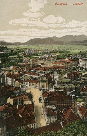Špitalski most, Marijin trg in pogled proti Šmarni gori z gradu 1900