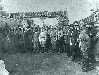 Red Army invasion of Azerbaijan -  Sergey Kirov, Anastas Mikoyan, Sergo Ordzhonikidze and Mikhail Levandovsky among Red Army soldiers in Baku