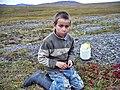 Мальчик собирающий ягоды в тундре. Тикси, конец лета 2011..jpg