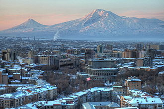 Mountains of Ararat - Mt. Ararat as seen from Yerevan