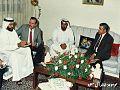 زيارة ولي عهد أبوظبي الشيخ محمد بن زايد آل نهيان عام 1989 للشيخ حسان راشد الخزاعي في منزله في عمان وهو أحد أبناء الأمير راشد الخزاعي.jpg