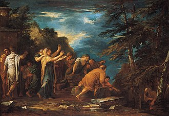 Oil painting showing, at the far left, a cloaked and hooded Pythagoras emerging from a cave in the woods as a large crowd of adoring followers wait outside to greet him.