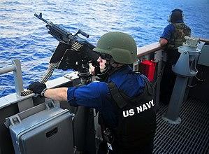 Lightweight Helmet - U.S. Navy sailor in 2009 wearing LWH helmet