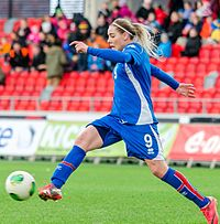 Icelandic footballer Rakel Hönnudóttir playing an international friendly against Sweden at Myresjöhus Arena in Växjö, 6 April 2013.