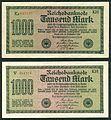 1000 Mark Reichsbanknote 1922 2 Versionen gedruckt von J. C. König & Ebhardt KH Hannover Seite I 200 dpi.jpg
