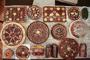 Mazurek (cake) - A selection of Mazurek cakes ready for Easter in Poland
