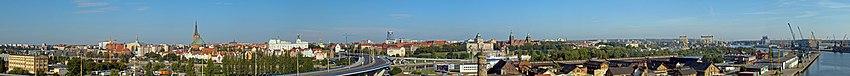 English: Panoramics of Szczecin (NW) Polski: Szczecin, panorama miasta, widok w kierunku północno-zachodnim