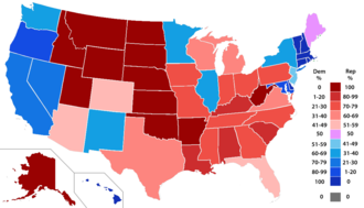 Political party strength in U.S. states - Percent of members of the House of Representatives from each party by state.
