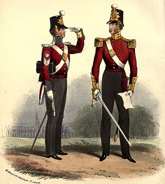 British Army during the Victorian Era - Colour Sergeant and officer of the 12th Foot (the Suffolk Regiment), 1840s Note the left handed salute. The Army did not adopt saluting with the right hand only, until 1917.