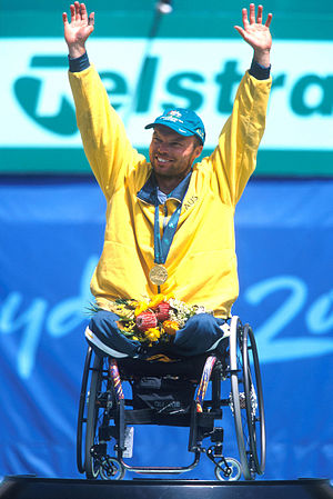 David Hall (tennis) - Hall on the podium celebrating his gold medal win at the 2000 Summer Paralympics