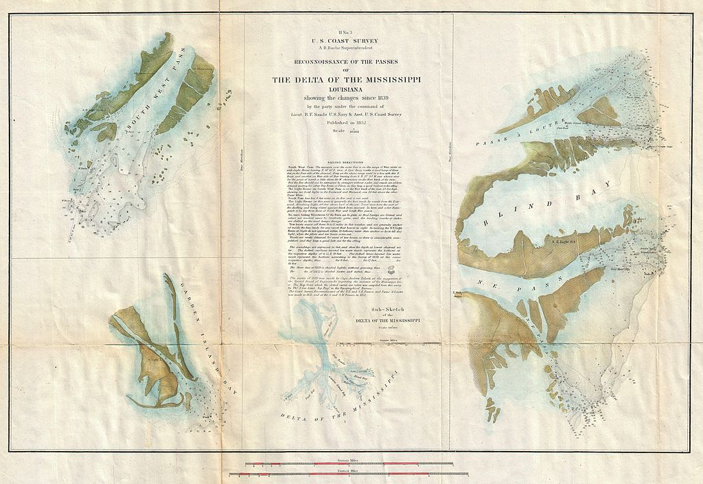 Mississippi River Delta Map http://commons.wikimedia.org/wiki/File:1852_U.S._Coast_Survey_Map_of_the_Mississippi_River_Delta_-_Geographicus_-_MississippiDelta-uscs-1852.jpg