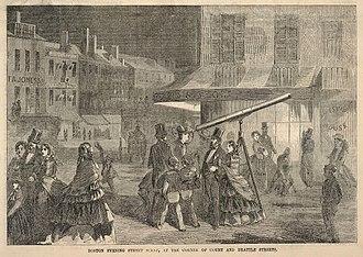 Brattle Street (Boston) - Image: 1857 Evening Scene Brattle St Boston by Winslow Homer Ballous
