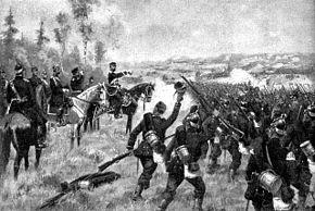offiser på hest som bestilte sin entusiastiske masserte infanteri i kamp