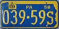1958 Pennsylvania license plate 039-59S.jpg