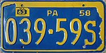 1958 Pennsylvania license plate 039-59S.jpg